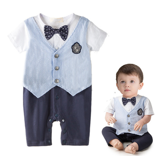 f66c0b24a21c 2016 Infant Newborn Baby Bebe Boy kidsToddler Gentleman Bow Romper ...