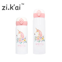 ZIKAI Unicorn Flamingo mini Travel Mugs Coffee Tea Vacuum flask Thermal Cup Bottle Bouncing Cover Thermocup kids Thermos PK-6(China)