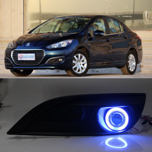 Ownsun New Innovative COB Fog Light Angel Eye Bumper Projector Lens for Peugeot 308 2012 ownsun new style tear drop led projector lens headlight for new ford focus 2012 2013