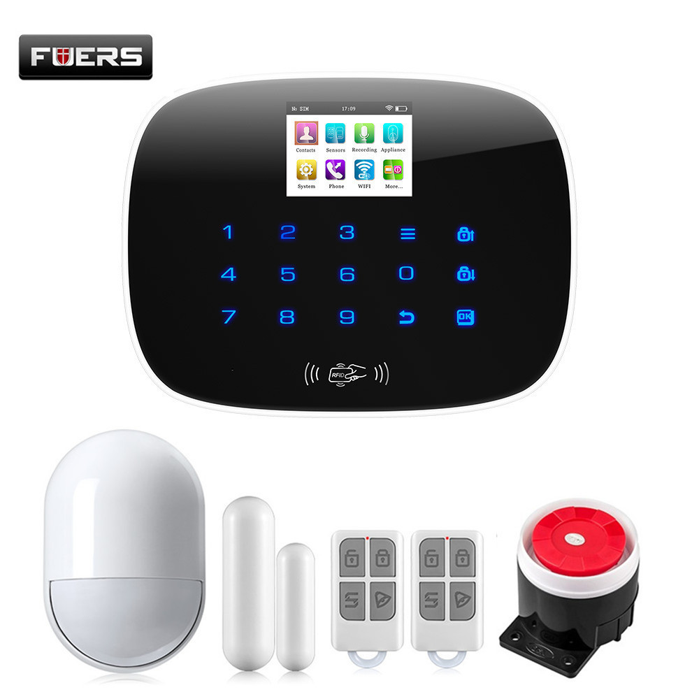 Fuers 433MHz Wireless WIFI 3G Alarm GSM Alarm PSTN Home Security Alarm Systems Kit Infrared Motion Sensor APP Control Home Alarm yobang security wifi gsm 3g alarm systems security home gsm alarm system app control wirelress alarm diy kit