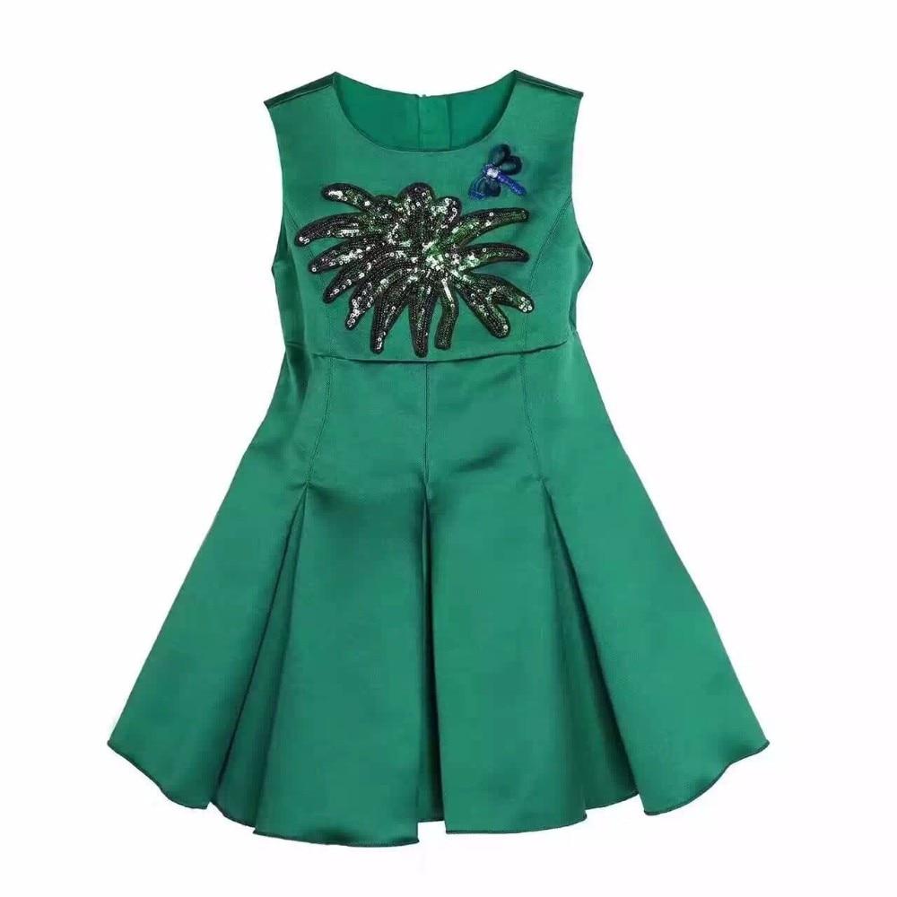 2017sumer kimocatBrand Girls Winter Dresses Clothes Kids Costumes Princess Dress Reine Des Neiges Children Green Sequins Dress