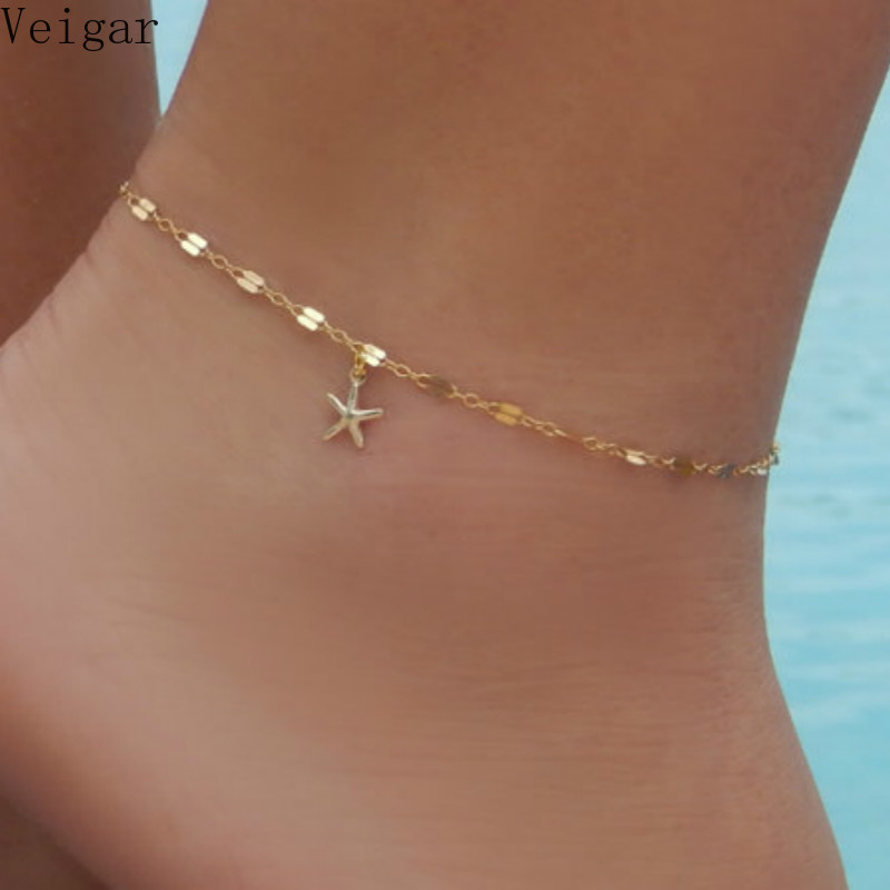 Gold Color Starfish Anklet Bracelet on The Leg 2018 Fashion Summer Beach Foot Anklets Jewelry Women Ankle Chain Enkelbandje