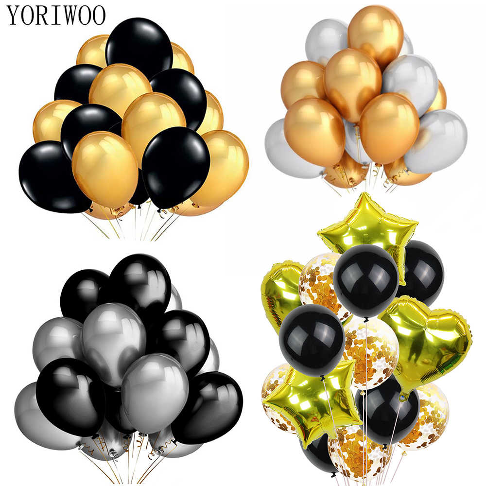 YORIWOO Gold Black Balloons Set Latex Balloon Confetti Birthday Party Decorations Adult Baloons Wedding Happy Birthday Balloon