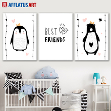 Bear Penguins Best Friends Wall Art Canvas Painting Nordic Posters And Prints Black White Pictures For Kids Room Decor