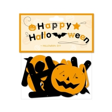 Black And Yellow Letter Happy Halloween Garland Banner Party Photo Props Decoration