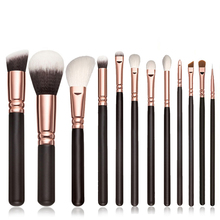 Best Deal New Fashion Women 12pcs Pro Cosmetic Makeup Brush Black Wood Handle Blusher Foundation Brushes Set Kit Gift 1 Set