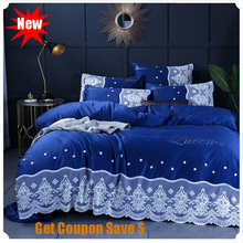 Euro style double-sided washed silk hot drilling 4pcs lace quilt cover bedding set quality bedsheet pillowcace duvet sets