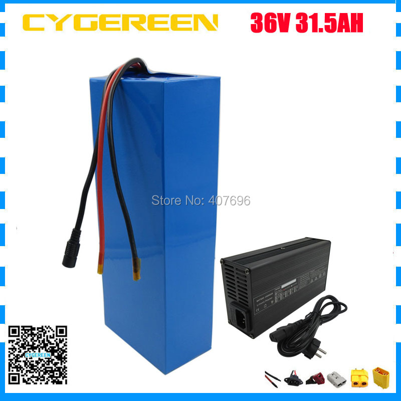 36V 31.5AH electric bike battery pack 1500W 36V scooter battery 31.5AH use for samsung 3500mah cell 50A BMS with 5A Charger