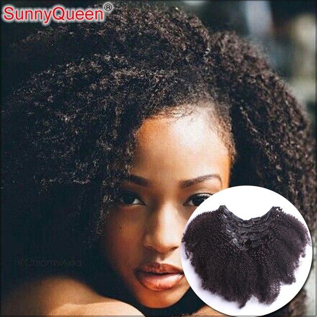 Pelo peruano de la Virgen Afro Rizado Rizado Clip En El Cabello Humano extensiones 7 Unids/set Head Set Completo Clip En El Pelo de Color Natural extensiones