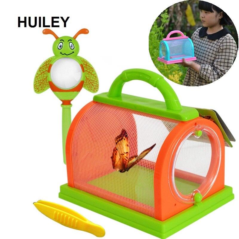 Kit com Pinças Lupa Mundo Bugs Insetos Bug Bug Captura Gaiola Caixa de Jardim Ao Ar Livre Do Parque de Campismo Brinquedos Ciência Crianças Primavera