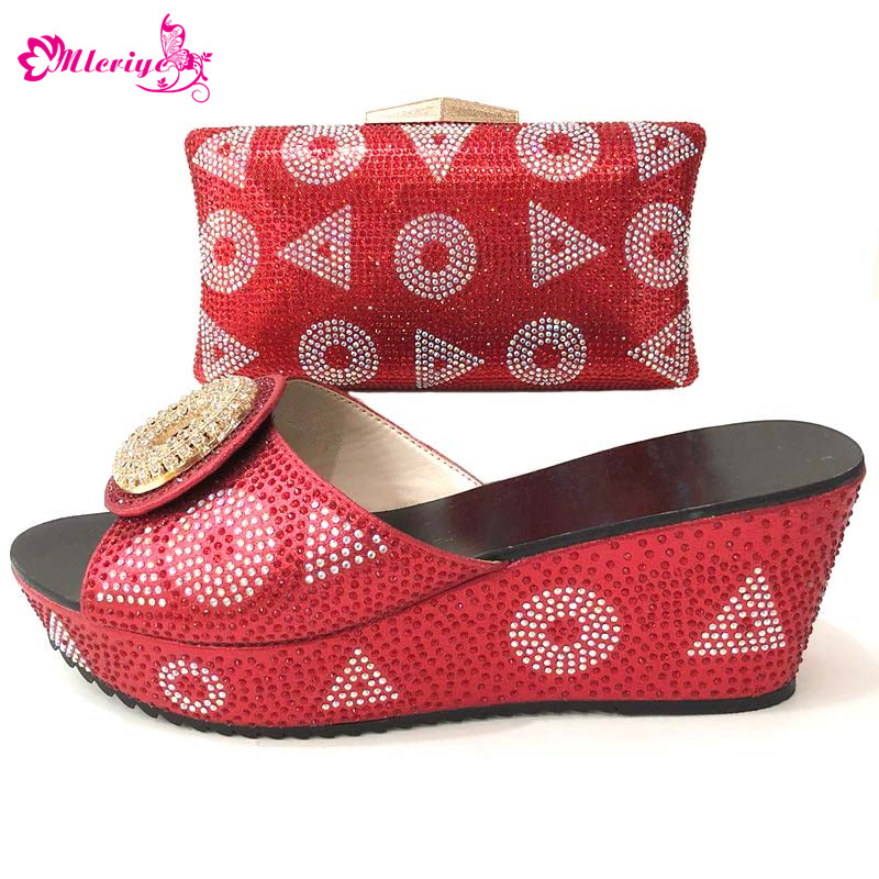 Red PU Leather Matching Shoes and Bag Set Italian Shoes with Matching Bag Nigerian Shoe and Matching Bag Women Shoe and Bag Set cd158 1 free shipping hot sale fashion design shoes and matching bag with glitter item in black