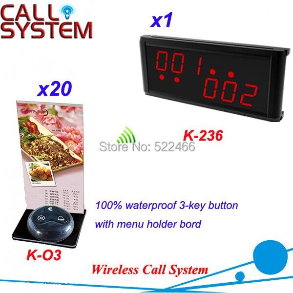 Ресторан вызова пуговица с держателем меню и дисплей приёмник в 433.92 мГц