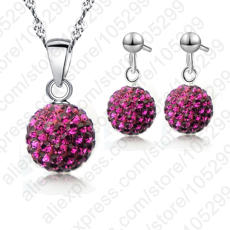 JEXXI Austrian Pave Disco Ball Stud 925 Sterling Silver Earring Pendant Necklace Austria Crystal Woman Jewelry