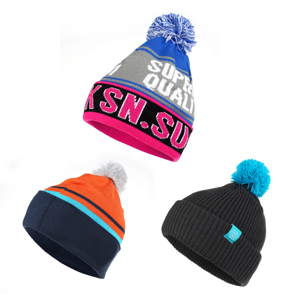 New Winter Knitted Skiing Snowboard Cycling Hiking Cap Fur Pompons Ball Climbing Hats For Men Women Factory Direct Selling Price