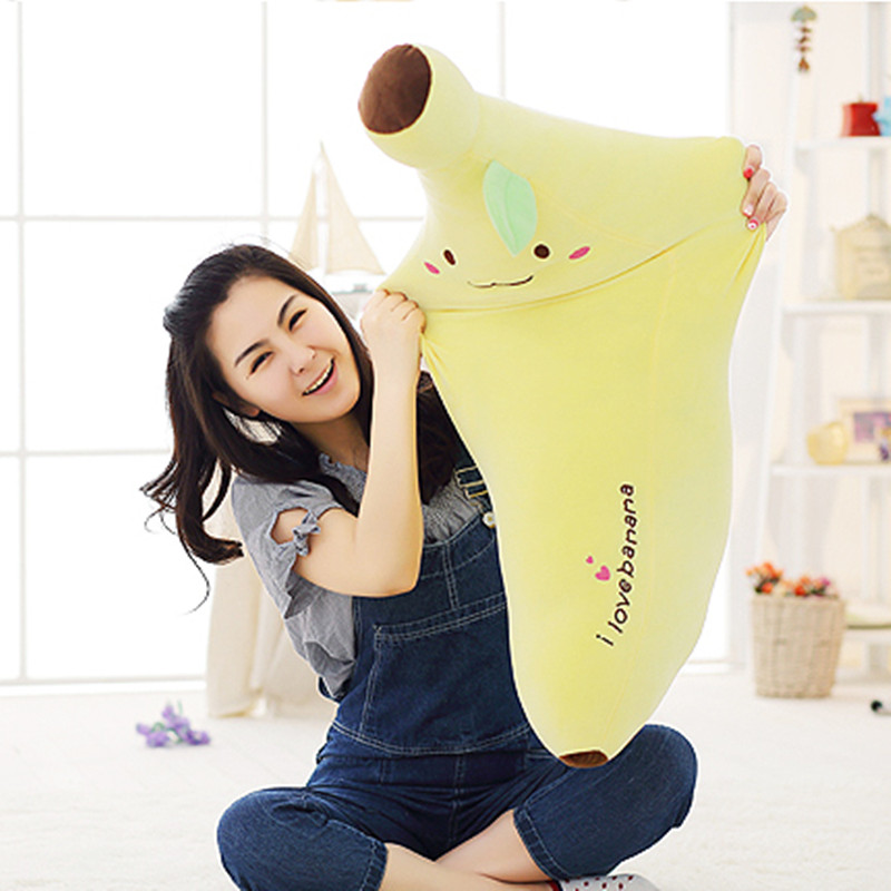 40-80cm Creative Soft Banana Plush Pillow Staffed Emoji Banana Cushion Boyfriend Pillow for Girls Valentine's Gift Plush Toy letter word printing soft plush square pillow case