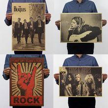 22 Types Pop Music Rock Band Stars Retro Kraft Paper Poster Bar Pub Wall Decor
