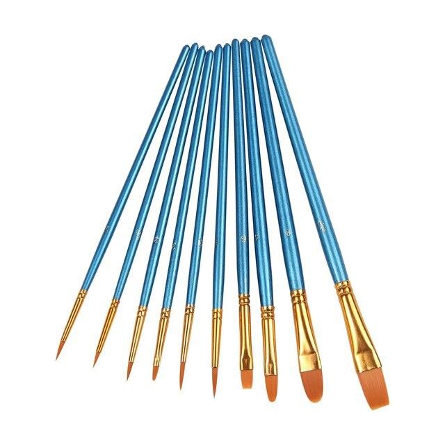 Juego de pinceles de pintura acrílica profesional de 10 piezas para acuarela/aceite/acrílico/artesanías/Roca/MAQUILLAJE facial pintura de herramienta