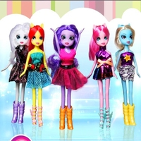 6 Pcs/ Set 25cm Girls Action Figures Toy Princess Celestia Unicorn Plush Ponies Doll for Christmas Gift