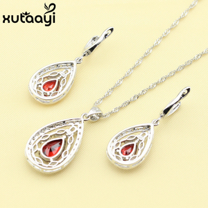 925 Silver Women's Health Fashion Water Drop Jewelry Set ,Created Red Garnet White Crystal Ring Size 6/7/8/9/10 Made In China