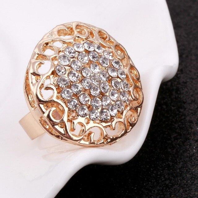 MINHIN Women Delicate Gold Bridal Jewelry Sets Rhinestone Pendant Collar Bracelet Crystal Earrings Rings Wedding Accessories 6