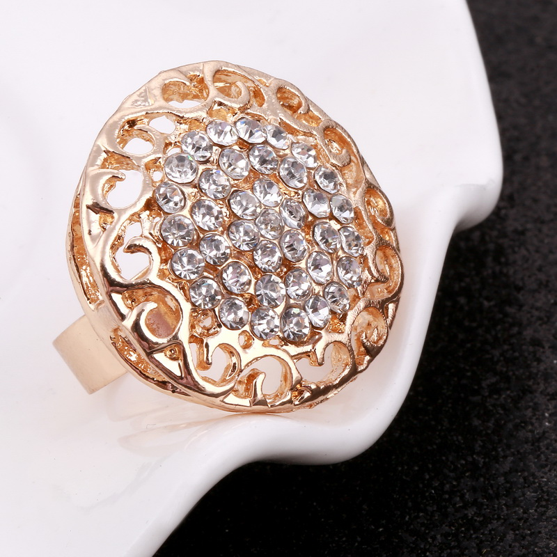 Minhin Women Delicate Gold Bridal Jewelry Sets Rhinestone Pendant Collar Bracelet Crystal Earrings Rings Wedding Accessories #6