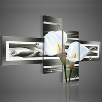 Hand Painted Wall Art Black Pure White Lilies Home Decoration Landscape Oil Painting On Canvas 4pcs