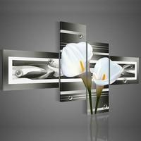 Ручная роспись стены искусства черный чисто белые лилии украшения дома Пейзаж картина маслом на холсте 4 шт./компл. dy-040