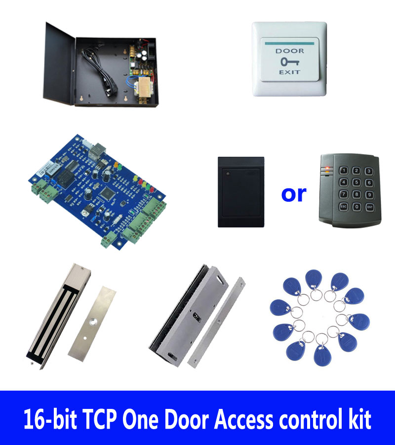 RFID access control kit,TCP one door access control+powercase+280kg magnetic lock+U-bracket +ID reader+button+10 tag,sn:kit-B107 biometric fingerprint access controller tcp ip fingerprint door access control reader