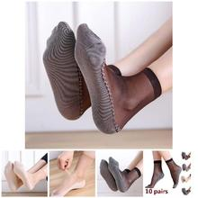 Drop 1 Pair Spring Summer Women Soft Socks Casual Non-Slip Bottom Splice Fashion Transparent Ladies Girls Thin Silk Sock BFJ55