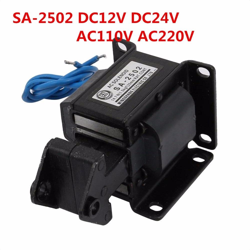 цена на SA-2502 AC220V 110V DC12V DC24V Lift 1.5kg AC Tractive Solenoid Electromagnet