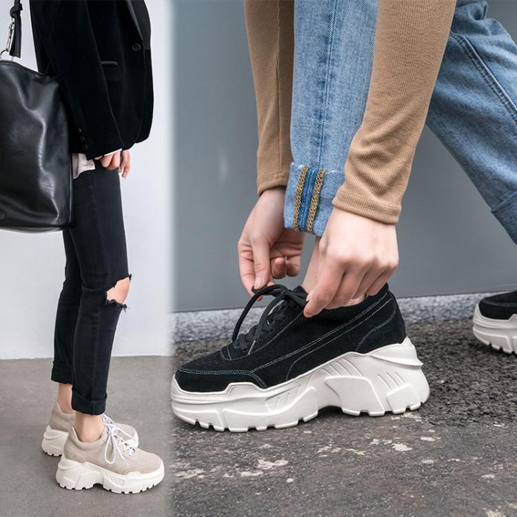Printemps Femmes Et Mode Confortable De 2019 Noir Apricot A Mat Automne Mocassins Chaussures Talons Augmenté black Concise Laçage Croix Loisirs rdrw4Xq