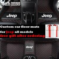 custom logo car floor mats for jeep renegade Grand Cherokee Commander Cherokee Wrangler patriot compass All Models car mats