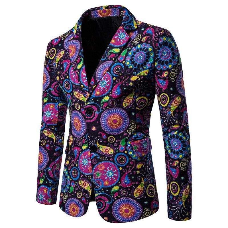 Brand 2019 New Tide Mens Fashion Print Blazer Design Plus Size Hip Hot Casual Male Slim Fit Suit Jacket Singer Costume