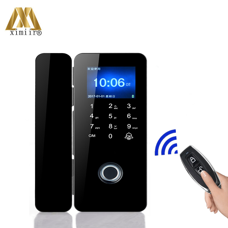 Framless Fingerprint Door Lock XM-308 Biometric Glass Door Lock Support Fingerprint, Card, Password,Remote Control