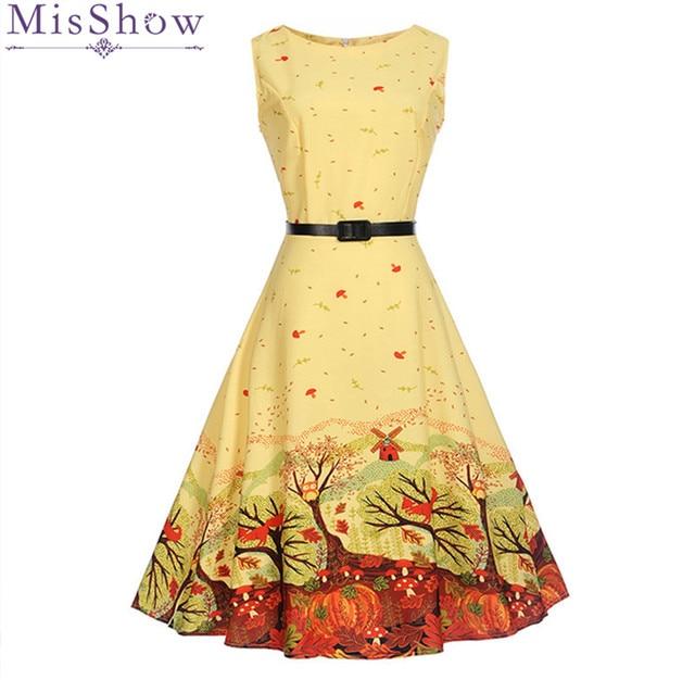 1e428523c1ebc Aliexpress.com : Buy 2017 Summer Women Dress Audrey Hepburn Vestidos  Sleeveless Polka Floral Print Clothing Cotton 50s Casual Rockbilly Yellow  from ...