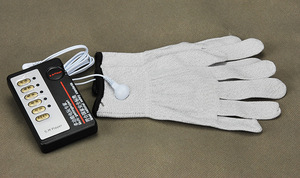 Image 4 - Electrical Shock Silver Fiber Therapy Massage Electrode Glove Electro Shock Gloves Electricity Conductive Gloves Medical Sex Toy