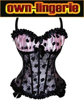 Sexy Corselet Women Bug Design Satin Ruffled Cup Overbust Embroidered Corset Bustier Top with G string Set Lingerie w3250