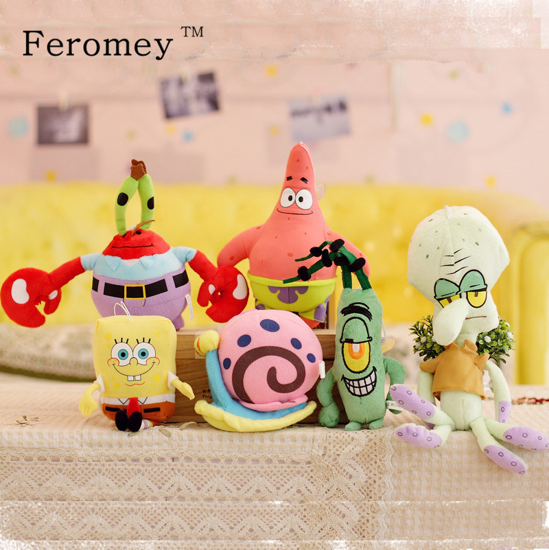 Kawaii Spongebob Plush Doll Toys Sponge Bob Patrick Crab Plankton Octopus Snail Stuffed Toys Doll Spongebob Toys Children Gift