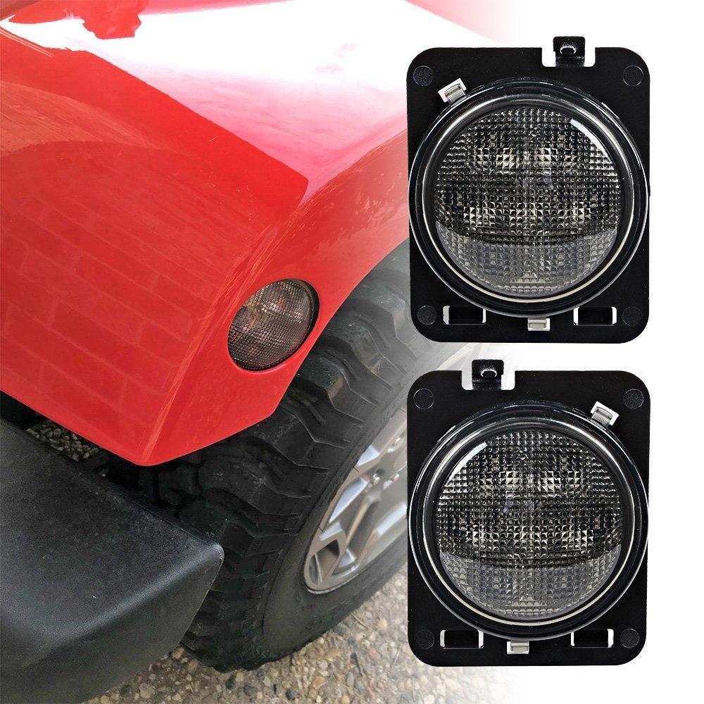 Fashion LED Side Maker Lights for Jeep Wrangler 2007-2015 Amber Front Fender Flares Parking Turn Lamp Bulb Indicator Lens L019 1pcs t10 6smd error free front side maker light parking light lamp bulb for chevrolet cruze 2015 new sail lova etc