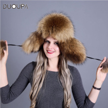 DUOUPA  Russian leather bomber leather hat Women Winter Hat Earflap Real Fox Fur Genuine Leather Caps With Earflaps  Ushanka duoupa russian leather bomber leather hat women winter hat earflap real fox fur genuine leather caps with earflaps ushanka