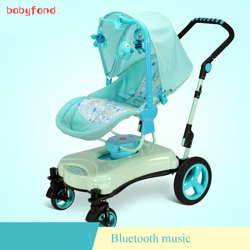 Baby trolley  Can Sit can lying chair mode strolleFolding High Landscape Umbrella carts Bidirectional Electric Cradle infant baby electric rocking chair thicken steel frame high load bearing baby cradle prevent baby spitting milk