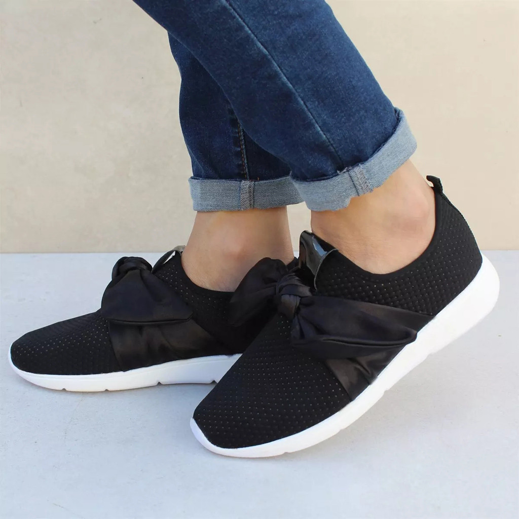 Fashon  Mesh Bow Shoes For Women Casual Black Outdoor Sports Runing Breathable Shoes Sneakers Sport Shoes Woman 2019