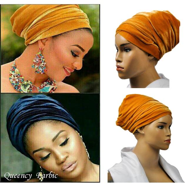 New arrival free shipping African turban gele headband fabric headwrap  Velvet headtie Width72