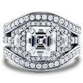 Виктория вик старинные 8 мм топаз моделируется алмаз 14KT белый 3-в-1 обручальное кольцо установить размер 5 - 11 подарок