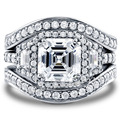 Victoria Wieck Vintage 8mm Topaz simulated diamond 14KT White Gold Filled 3-in-1 Engagement Wedding Band Ring Set Size 5-11 Gift