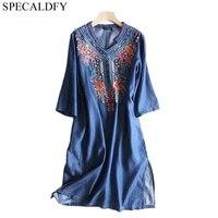 2019 Spring Summer Dress Women Cotton Tencel Denim Dresses Bohemian Floral Embroidery Soft Jeans Dress Plus Size Robe Femme Ete