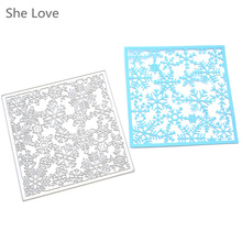 She Love Merry Christmas Snowflake Cutting Dies Stencils Square Template Decorative Embossing Scrapbooking Metal Cards