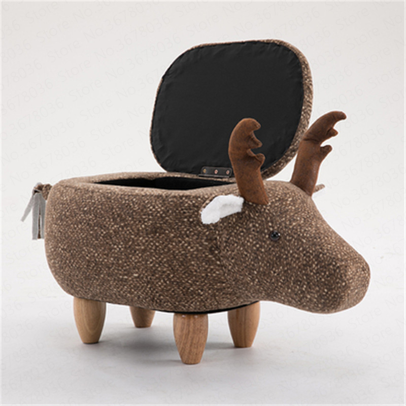 Change Shoes Solid Wood Deer Animal Change Shoes Stool Storage Low Stool Sofa Bench Test Shoes Stool Creative Small Stool