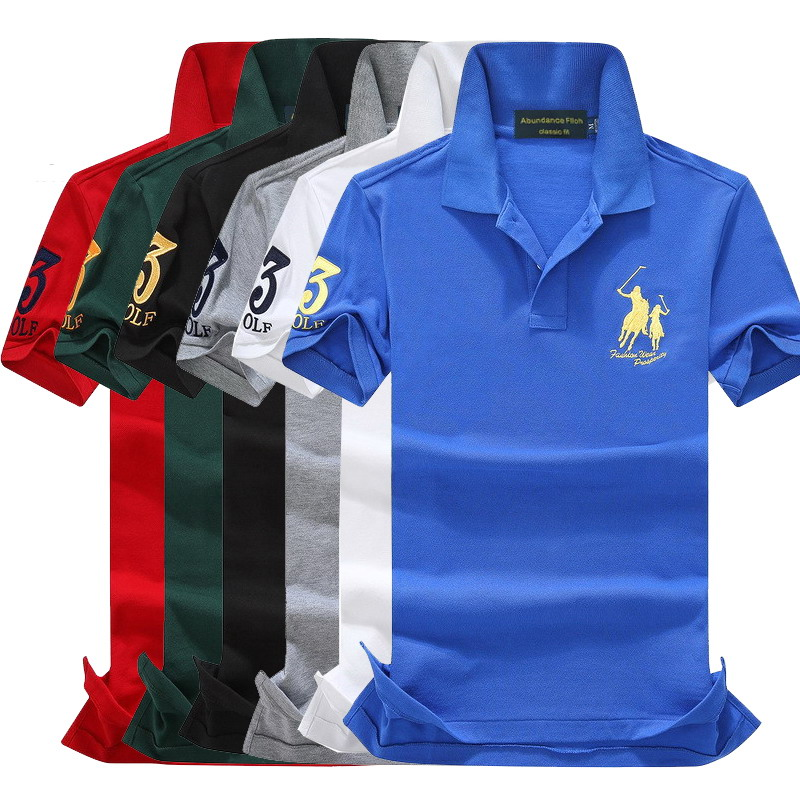 On sale original cotton Summer Big horse men short sleeve   polos   mens shirts ralphmen tops 3 embroidery logo   polos   shirt 908