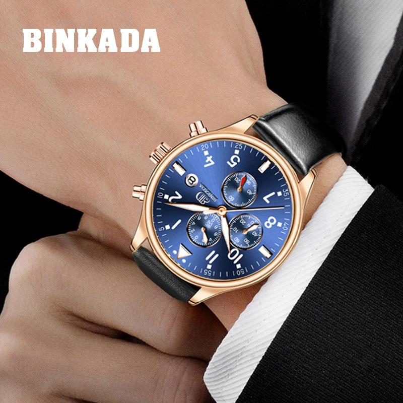 Binkada 2019 heren chronograaf sport horloges topmerk luxe zakelijke - Herenhorloges - Foto 1
